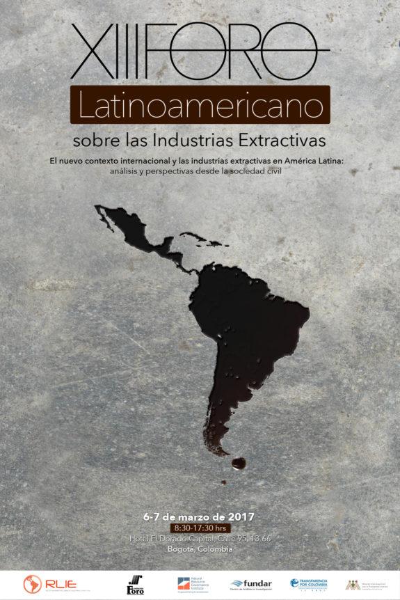 Cartel XIII Foro Regional sobre las Industrias Extractivas