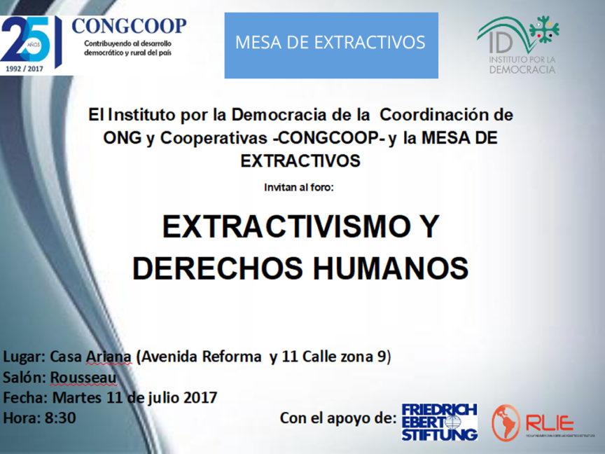 INVITACION FORO DERECHOS HUMANOS Y EXTRACTIVISMO